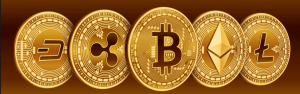 Various cryptocurrency coins logo