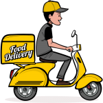 Cartoon Picture Of A Food Delivery Man On Yellow Motorbike